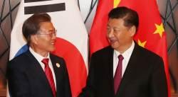 넥타이 붉은색 깔맞춤…문재인-<!HS>시진핑<!HE> 관계 복원 신호?