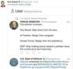 미국 국방부, '트럼프 사임 촉구' 리트윗…무슨 일