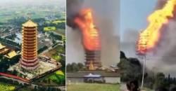 [영상]아시아 최고 높이 중국 목탑, 화재로 순식간에 사라졌다