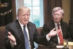 """<!HS>트럼프<!HE>, 뼈 있는 농담 """"시리아 공습이 전부 볼턴 덕분? 그럼 해임"""""""