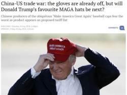 트럼프 관세폭탄 불똥···트럼프 모자에 튀었다
