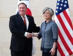 """한미외교장관 회담…강경화 """"北 비핵화 약속 지키도록 할 것"""""""