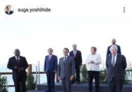 G7 사진서 남아공 대통령 자른 靑···日은 바이든·文 지웠다