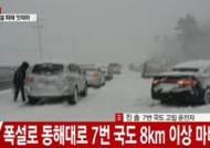 폭설로 동해대로 7번 국도 8km 이상 마비