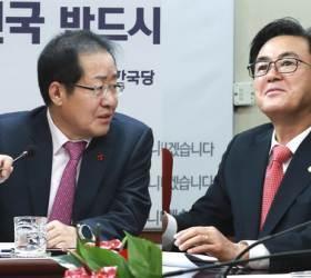 """또 붙은 김태흠·홍준표…""""사당화"""" vs """"잘라버린다"""""""