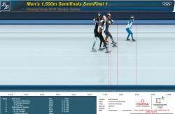 [OMEGA&평창올림픽] 스케이트 날이 결승선 얼음 표면의 '포토셀 광선' 통과하는 순간 점수판에 기록 나타나