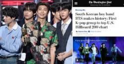 """Washington Post Reports """"South Korean boy band BTS makes history""""…"""