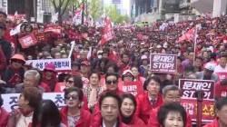 """[영상]나경원 """"지지율 떨어지면 북한만 바라본다""""…자유한국당,광화문서 대규모 장외집회"""