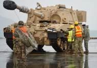[서소문사진관] 미1사단 단검여단 한국 순환배치, M109 팔라딘자주포, M1A2 에이브럼스 전차 등 광양항 도착