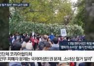 """[영상] """"소녀상 지켜 달라""""…독일 교민·시민 항의 집회"""