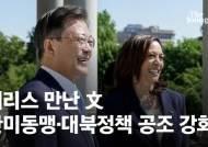 """""""내 고향엔 한국인 많다"""" 노마스크로 만난 해리스-文 [영상]"""