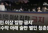 태화강의 노마스크 집단술판…'5인 금지' 현수막 앞이었다[영상]