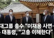 """에둘러 '이재용 사면' 요청한 최태원···文 """"공감하는 분 많다"""""""