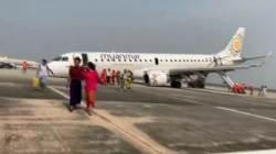 [해외 이모저모] 미얀마 여객기, 앞바퀴 없이 비상착륙 '아찔'