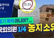 """국회의원 1/4은 '농지 소유자'…""""상위 10인, 농사보다 투기 목적 의심"""""""