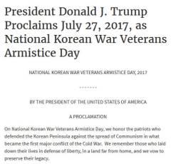 """트럼프 """"한국전 참전용사, <!HS>공산주의<!HE>에 맞선 애국자"""""""