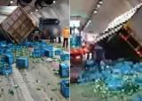 성남 여수터널 도로에 쏟아진 소주병…터널 안은 아수라장