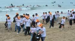 [서소문사진관]여름 끝자락 골칫거리 해안 쓰레기…임페리얼 등 기업들 솔선수범