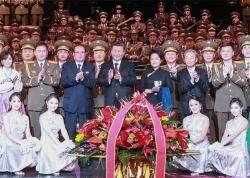 [사진] 시진핑 부부, 북한 공연 관람