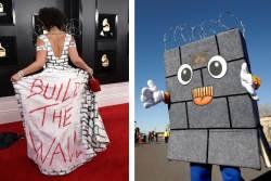 [서소문사진관] 온 몸으로 국경 장벽(WALL) 만든 트럼프 서포터즈
