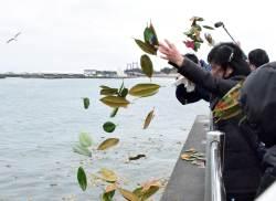 [<!HS>서소문사진관<!HE>]동일본 대지진 8년..고귀함 꽃말의 목련잎에 적힌 '잊지 않을꼐요'