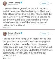 """[속보] 트럼프 """"3차 북미정상회담 좋을 것…서로 입장 이해"""""""