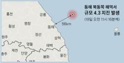 강원 동해 해역서 4.3 <!HS>지진<!HE>···건물이 4~5초간 흔들렸다