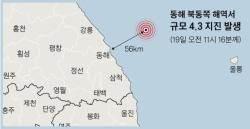 강원 동해 해역서 4.3 지진···건물이 4~5초간 흔들렸다