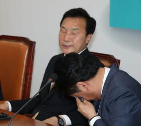 [<!HS>포토사오정<!HE>]손학규 대표 고생많았다는 칭찬에 김관영 원대대표 눈물 훔쳤다.