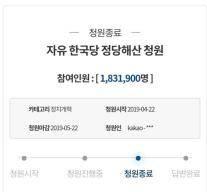 '한국당 해산' 靑 국민청원 마감…역대 최다 183만명 참여