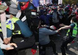 민노총 공권력 유린 20분···대낮에 경찰 치아 날렸다