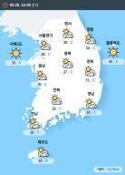 [실시간 전국 날씨] 오후 12시 현재 대체로 흐림