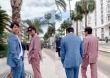 네이비 리넨 재킷에 흰색 바지, 실패하지 않는 남자의 변신