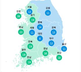 [7월 16일 PM2.5] 오전 6시 전국 초<!HS>미세먼지<!HE> 현황