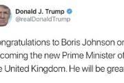 """트럼프, 보리스 존슨 영국 신임 총리에 축하메시지…""""잘 해낼 것"""""""