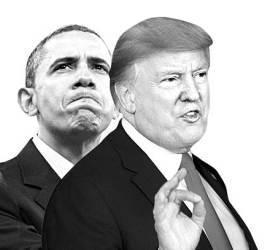 "<!HS>오바마<!HE>, 트럼프 저격…""공포·증오 분위기 조성하는 지도자"""