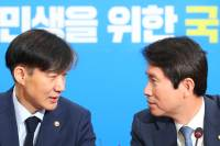 """조국, 민주당 지도부 예방해 """"檢개혁에 최선다할 것…심려끼쳐 죄송"""""""