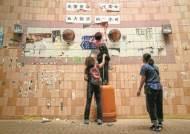 [사진] 홍콩 시위대 벽보 뜯는 친중파