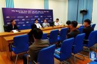 김일성경기장서 1시간 훈련, 벤투+이용 기자회견