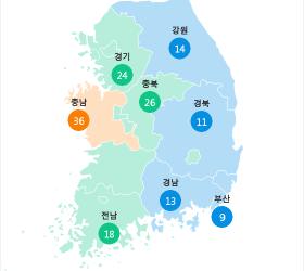 [10월 21일 PM2.5] 오전 6시 전국 초<!HS>미세먼지<!HE> 현황