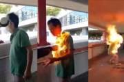 이번엔 홍콩 시위대가…中 지지자에 인화물질 뿌리고 불붙여