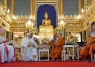 35년 만에 '불교 국가' 태국 방문 교황, 불상 앞에서 스님 만나