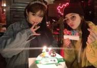 """2NE1 우정 ing""..산다라박X박봄, 14번째 함께 맞는 생일 인증샷"