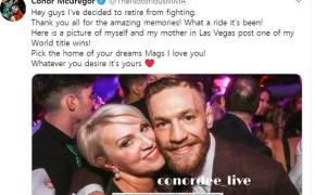 UFC 스타 코너 맥그리거, SNS로 깜짝 은퇴 선언