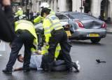 영국 존슨 총리 탑승 차량, 갑자기 뛰어든 시위대에 추돌사고 발생