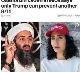 """'트럼프 지지' 모자 쓴 <!HS>빈<!HE><!HS>라덴<!HE> 조카 """"재선해야 테러 막는다"""""""