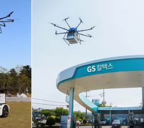 <!HS>드론<!HE>이 택배 떨어뜨리면 자율주행 로봇이 배달…GS칼텍스 시연 성공