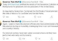 핵심 경합주였던 美펜실베이니아, '바이든 승리' 공식 인증