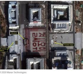 위성사진에도 찍힌 붉은글씨 '결사옹위'…<!HS>김일성<!HE>광장은 지금