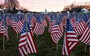 텅빈 바이든 취임식장 앞 공원, 성조기 등 깃발 19만개로 가득 채웠다